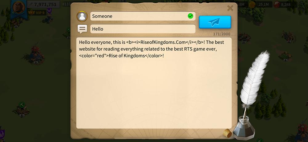 fancy text trick rise of kingdoms