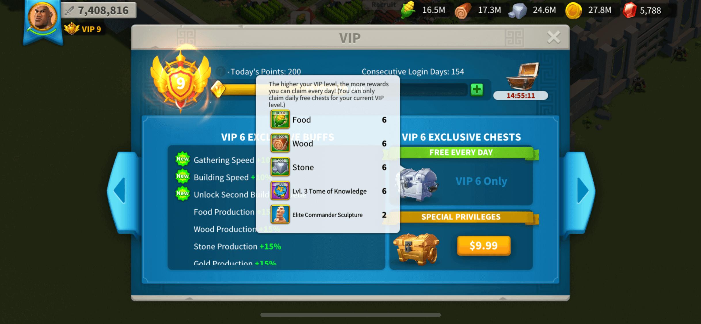 vip level 6 rise of kingdoms