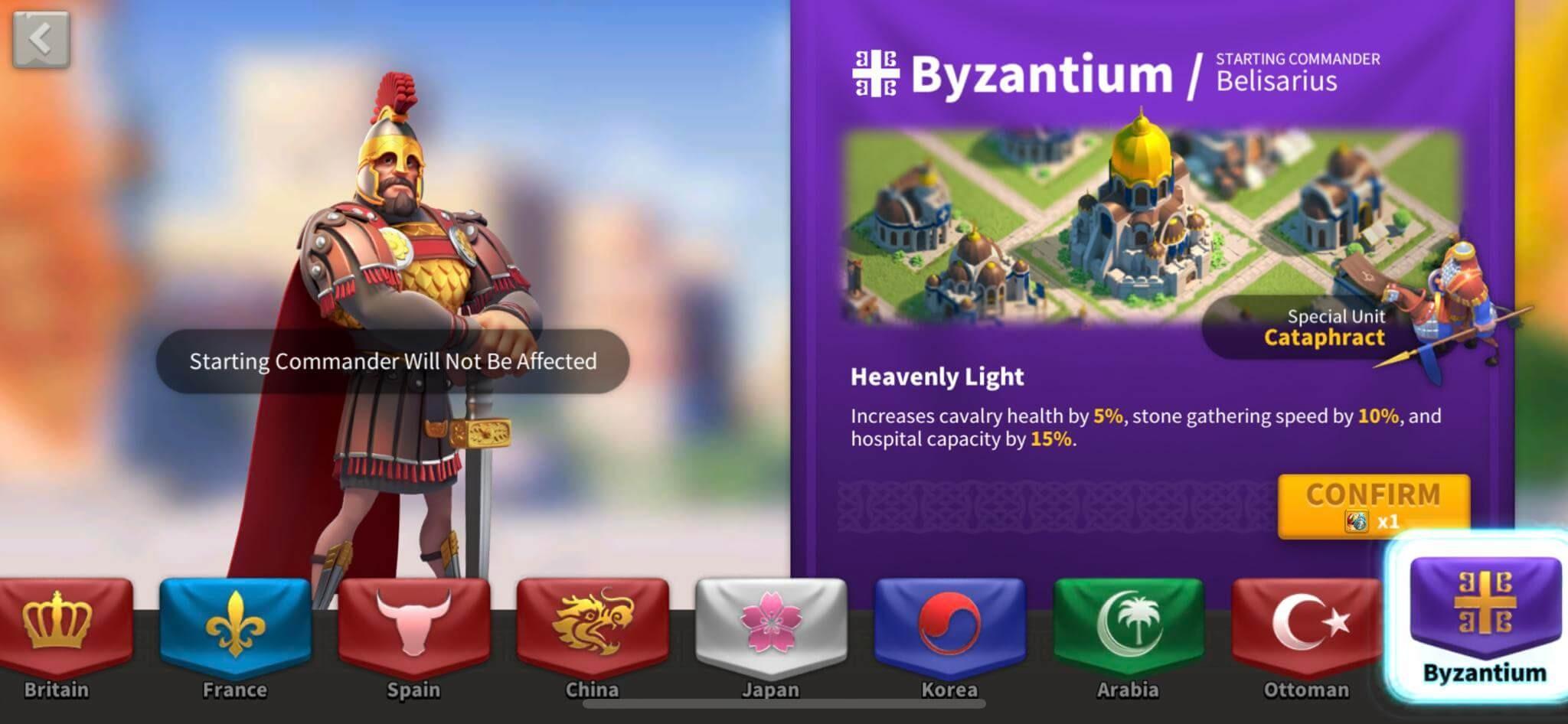 byzantium nation in rise of kingdoms