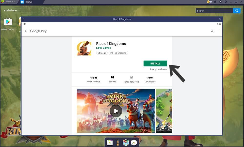 install Rise of Kingdoms via Google Play