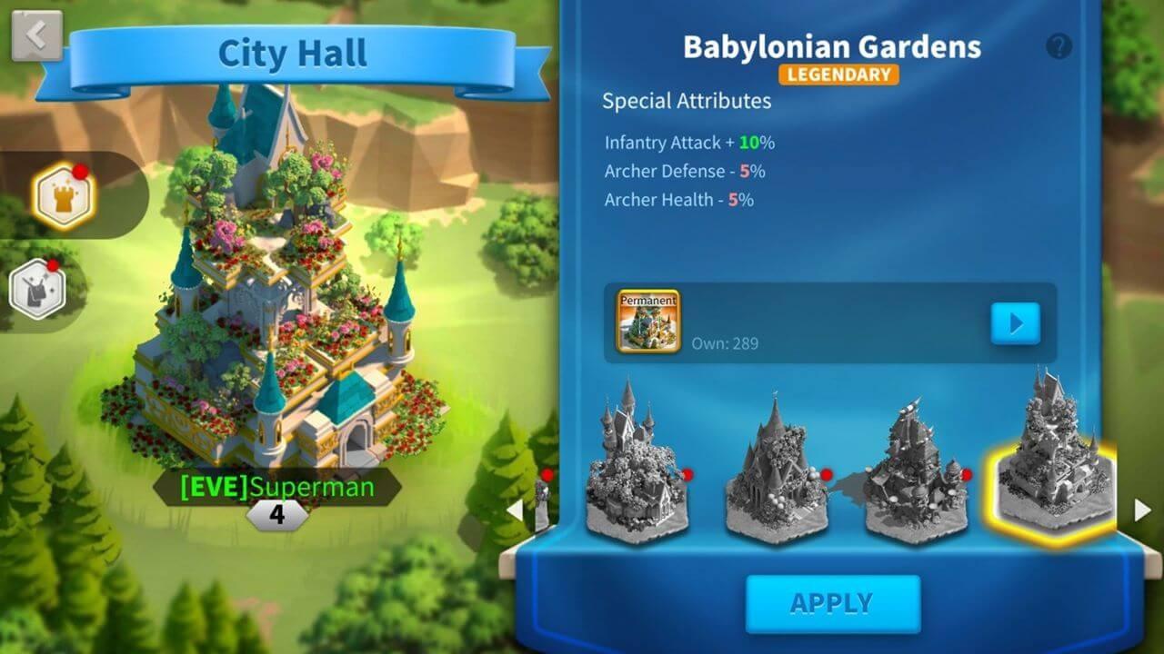 Babylonian Gardens city theme