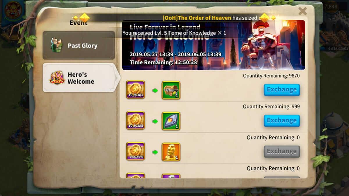rise of kingdoms past glory item exchange