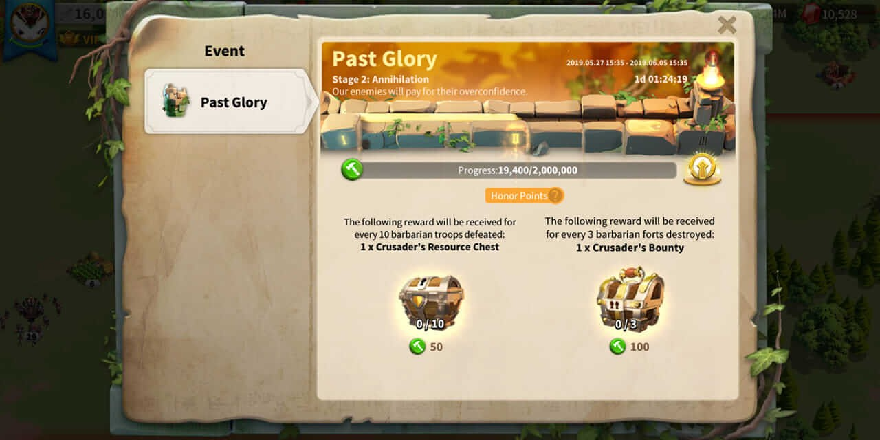 rise of kingdoms past glory stage 2