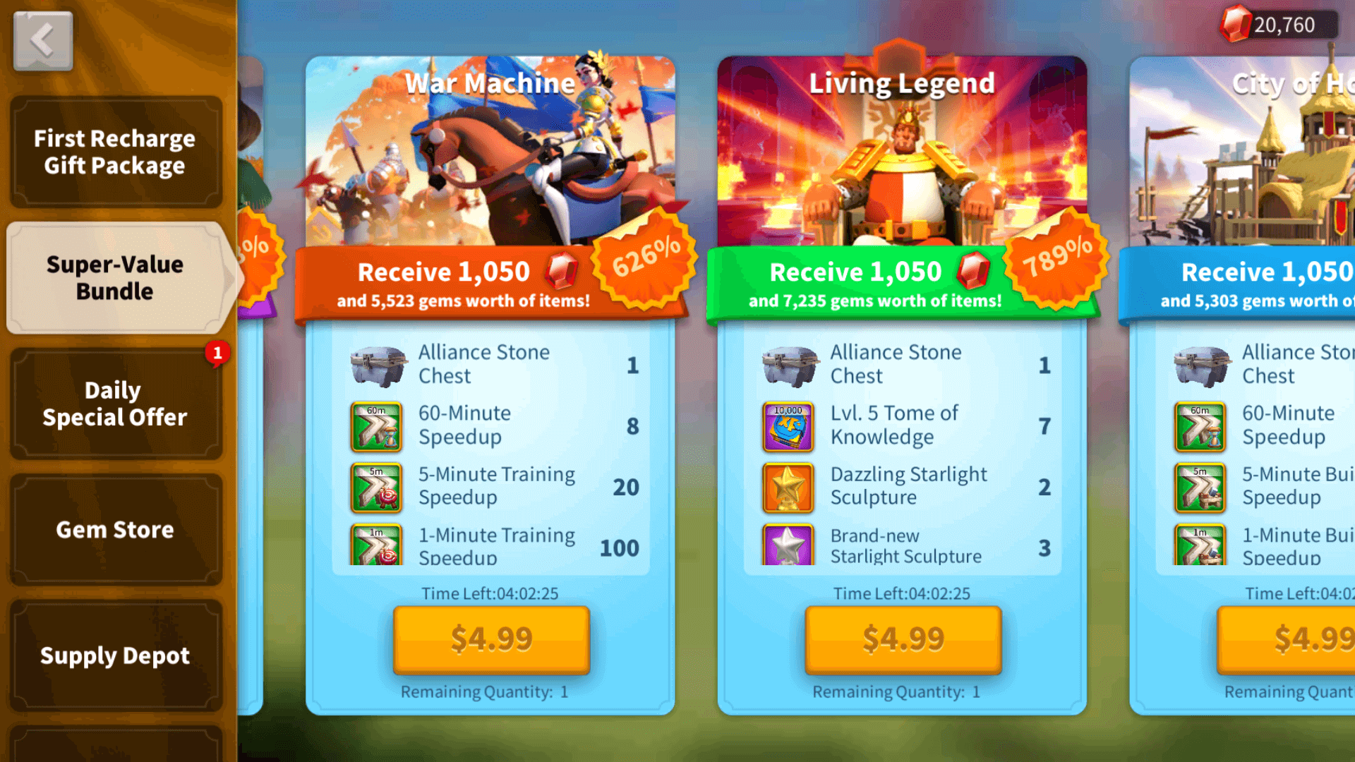 Rise of Kingdoms Super-Value Bundles