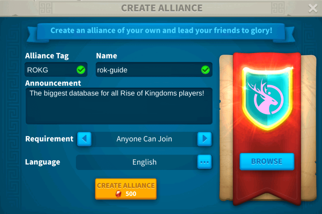 Create Rise of Kingdoms Alliance