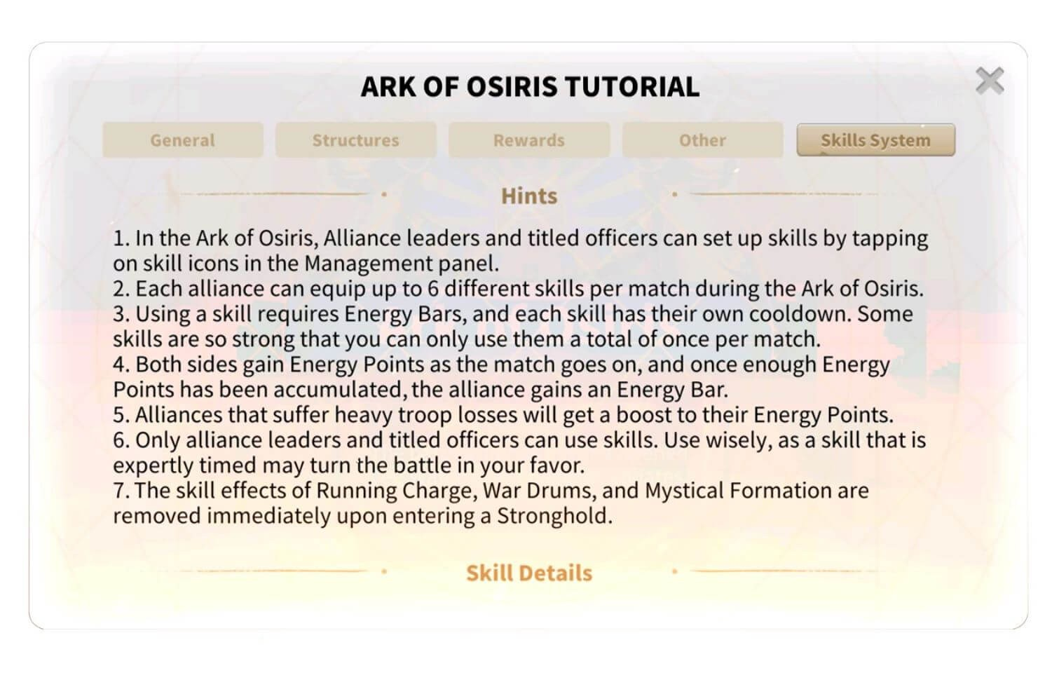 "The ""Ark of Osiris"" Skills System"