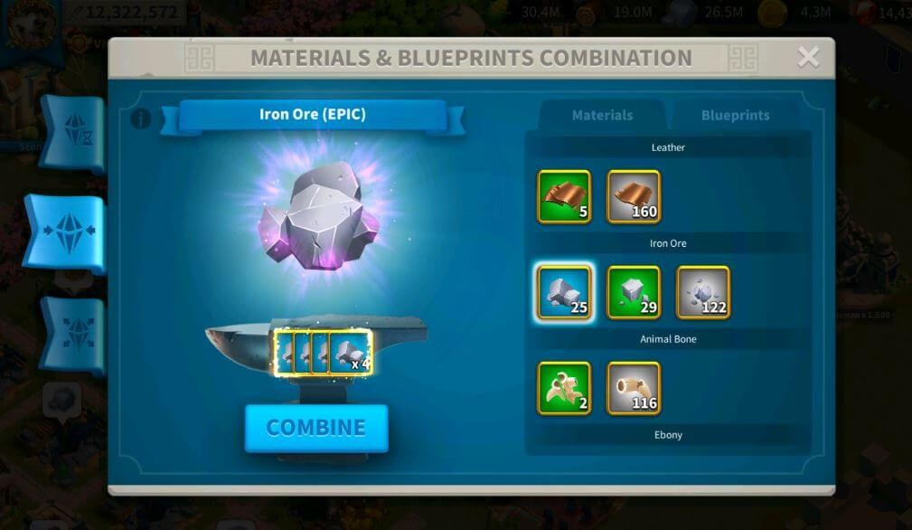 combine materials and blueprints