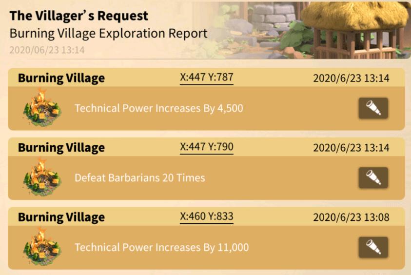 burning village quests