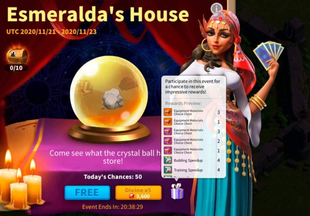 Rise of Kingdoms Esmeralda's House Event