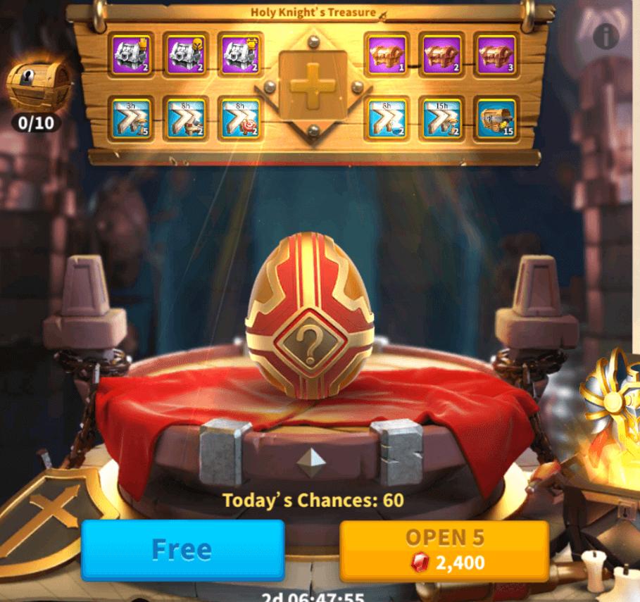holy knight treasure event
