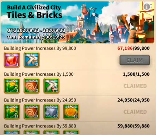 tiles and bricks event Rise of Kingdoms
